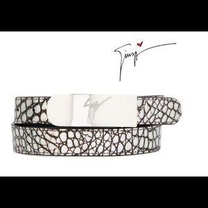 giuseppe zanotti NEW silver croc leather belt